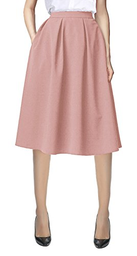 Urban CoCo Women's Flared A line Pocket Skirt High Waist Pleated Midi Skirt (L,...