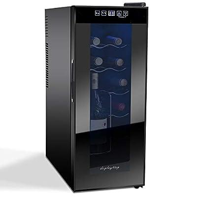 Display4top Wine Cooler, 12 Bottles Wine Fridge, temperature zones 10-18 °Touchscreen,Wine refrigerator,black,35L from D4P