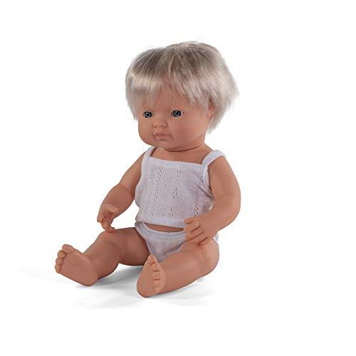 Miniland – Muñeco bebé Europeo Niño de vinilo suave de 38cm con rasgos étnicos y sexuado para el aprendizaje de la diversidad con suave y agradable perfume. Presentado en caja de regalo.