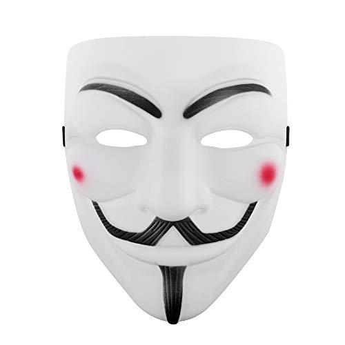 Udekit Hacker Mask White V for Vendetta Face Mask for Women Men Halloween Costume Cosplay White