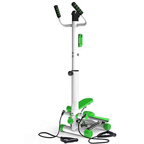 Stepper Máquinas de Step Inicio de pasos de torsión ajustable plegable escalera paso a paso Paso entrenamiento Máquina multifunción Silencio aparatos de ejercicios con empuñadura ( Color : Green )