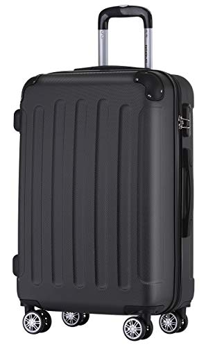 BEIBYE Hartschalen-Koffer Trolley Rollkoffer Reisekoffer Handgepäck 4 Rollen (M-L-XL-Set) (Schwarz, L)
