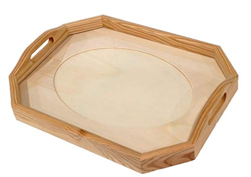 Bandeja cristal para labores. Octogonal. En madera en crudo, se puede pintar.Medida exterior (ancho/fondo/alto): 43 * 33 * 7 cms. Medida interior passepartout 33 * 23 cms.