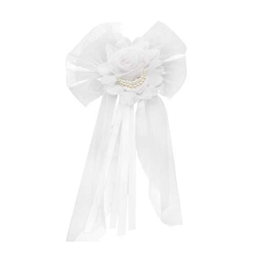 Garneck Chaises Ceintures Chaise Dossier Arcs Décorations Chaise De Mariage Noeuds Cravates Accessoires De Tissu De Mariée pour Les Mariages Décoration De Fête Taille L (Blanc)