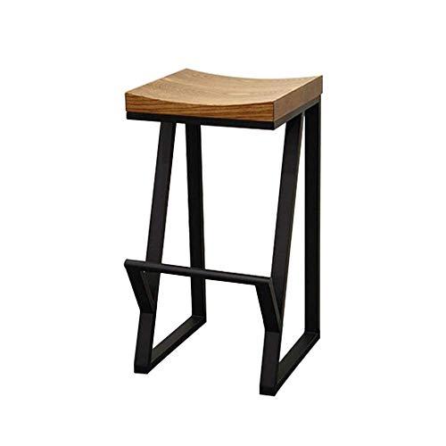 Sillas de comedor,Taburete de bar con asiento de madera maciza de cadera de patas altas negro, (altura de asiento 75 cm, 30 pulgadas), cojín de madera maciza con estructura de hierro, utilizado para