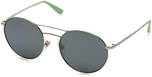 VOGUE Women's VO4061S Round Metal Sunglasses, Silver/Green/Grey Mirror Silver, 52 mm