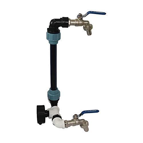 Nºkin IBC cuello de cisne 3/4 pulgadas, adaptador IBC con válvula de salida de 3/4 pulgadas, cuello de cisne de 2 vías, grifo de latón, perfecta fijación del tanque IBC, para barril de lluvia, tanque de agua de lluvia