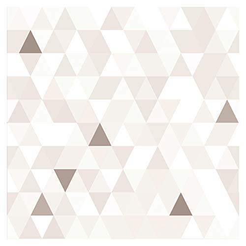 murando Tapete selbstklebend 10m Wandtattoo dekorative Möbelfolie Dekorfolie Fotofolie Panel Wandaufkleber Wandposter Wandsticker - geometrisch Dreiecke beige weiß f-B-0177-j-b