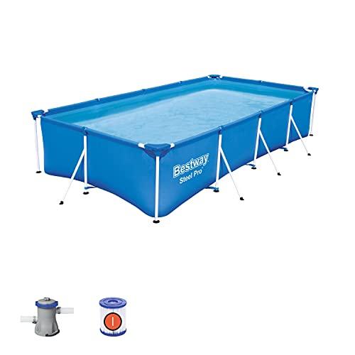 Bestway 56424 Piscine hors sol Steel Pro™ 400 x 211 x 81 cm, filtre à cartouche