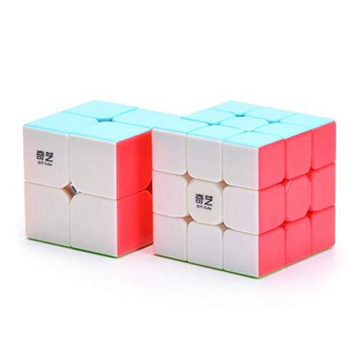 CuberSpeed Bundle QiYi 3x3 Stickerless with Qiyi 2x2 Speed Cube Speed Cube Set 2x2 3x3 Magic Cube