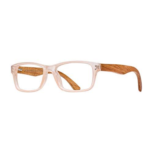 BLUE PLANET Reading Glasses Eco Friendly Women Sustainable Bamboo Ladies Designer Eyeglasses I31 Blush,1.25
