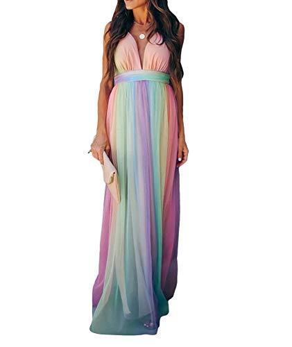 SOMTHRON Vestito da donna con scollo a V, sexy, alla moda, basic, in chiffon, da sera, con bendaggio, maxi scollatura di colore, lungo, maxi abito da cocktail, colore arcobaleno, multicolore, XXL