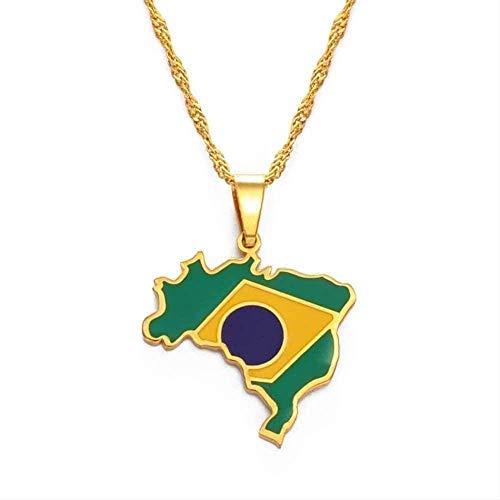 Zaaqio Collar Collar Collar de Mapa de Brasil y Colgante de Bandera y Collar de Mapa de Brasil Regalos de joyería de Color Dorado