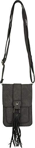 styleBREAKER Mini bolso de señora bolso de hombro de piel de serpiente con flecos, bolsillo para el móvil, bolso de hombro, bolso de mano 02012363, color:Negro