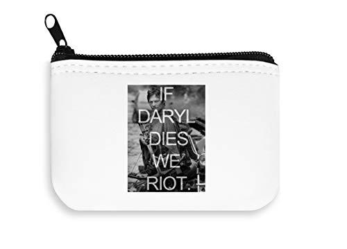 If Daryl Dies We Riot The Walking Dead Poster Zipper Wallet Coin Pocket Purse Brieftasche