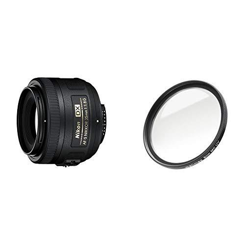 Nikon AF-S DX Nikkor 35mm 1:1,8G Objektiv (52mm Filtergewinde) & Walimex Pro UV-Filter Slim MC 52 mm (inkl. Schutzhülle)
