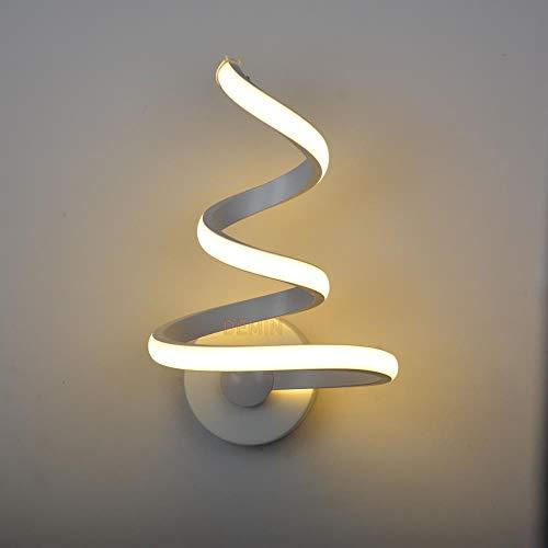Modeen - Lámpara de pared en espiral LED, 18 W, lámpara de mesilla de noche, salón, dormitorio, luz sencilla, moderna, creatividad, escuadra, aplique de pared aluminio + gel de sílice blanco color