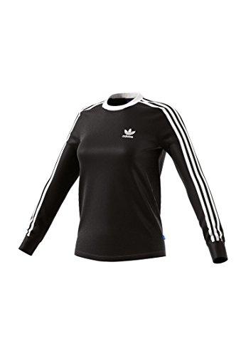 adidas Damen 3-Streifen Langarm-Shirt, Black, 36