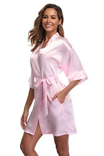 iFigure Women's Short Kimono Robe Dressing Gown Silky Bridesmaid Robes Bathrobe, Baby Pink, S/M