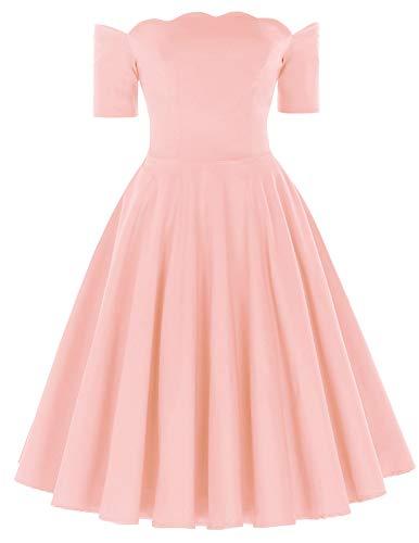 PAUL JONES 1950s Short Sleeve Off Shoulder Dress Pink Flared Dress for Cocktail Size XL Pink
