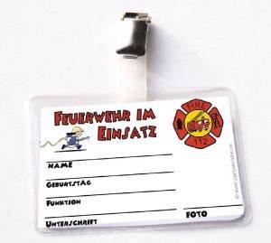 6x Feuerwehrausweis Feuerwehrmann Flo, Mitgebsel Feuerwehrparty (6 Stück)