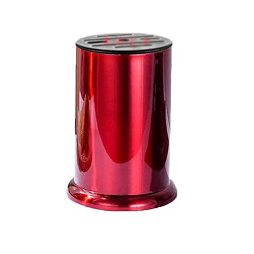 HMEI - Perchero de cuchillos redondo de acero inoxidable, para cuchillos de siete pisos en el suelo, para utensilios de cocina en casa, regalo, bloque de cuchillos (color rojo)