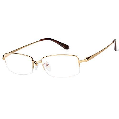 Rechteckige Lesebrille aus reinem Titan, ultraleichte Business-Brille für Herren mit klarer Sicht und Federscharnier,gold,+3.5