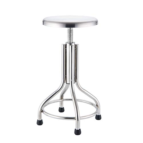 LBST Stainless Steel Counter Height Stool, Backless Bar Stool Metal Round Industrial Style,Commercial Quality, Height Adjustable with 50-70cm