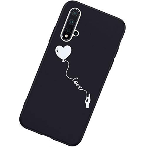 Coque Compatible avec Huawei Nova 5 Étui KunyFond Design Noir Ultra Mince Gel Souple TPU Silicone Clear Créatif Motif Protection Choc Scratch Crystal Housse Téléphone Bumper Case,Love
