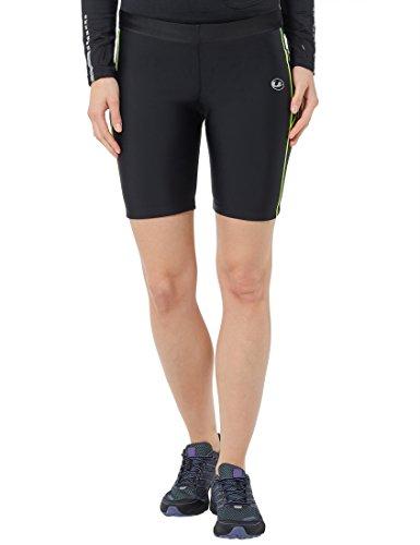 Ultrasport Damen Laufhose kurz mit Quick-Dry-Funktion, Schwarz/Neon Gelb, M