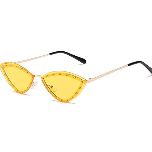 Vintage Cat Eye Gafas De Sol Mujeres Retro Pequeño Ojo Gato Gafas De Sol Coloridas Gafas para Adecuado para Las Compras De Viaje Al Aire Libre Y Tomar El Sol Etc-Amarillo