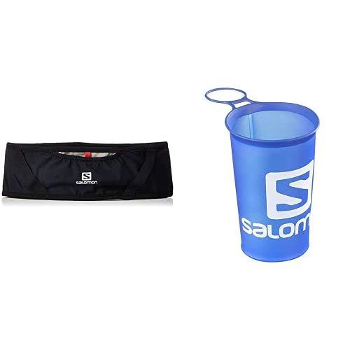 Salomon Pulse Belt Riñonera de hidratación, Práctica y cómoda, Incluye Botella, Negro, XL + Soft Cup Speed Vaso Botella Flexible, Unisex Adulto, Azul, 150 ml