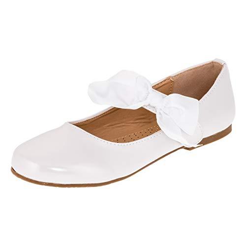 Doremi Edle Festliche Kinder Mädchen Prinzessinnen Party Schuhe Ballerinas mit Schnalle und Schleife M513ws Weiß 34 EU