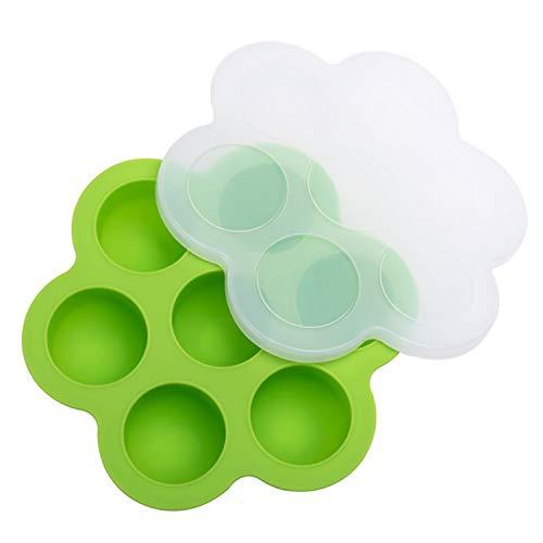 Babynahrung,Baby Brei Behälter,7-Fach Antihaft-Silikon Babynahrung Vorratsbehälter Gefrierschrank mit Deckel für Home Kitchen Zubehör Werkzeuge grün