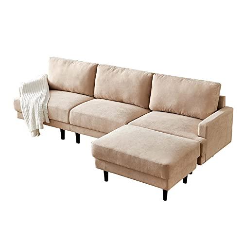 HAZYJT Sofá esquinero con función para Dormir, sofá de 266 cm con otomana, sofá Cama Suave y Grueso, para Apartamentos pequeños, Habitaciones de huéspedes, Habitaciones Juveniles Beige
