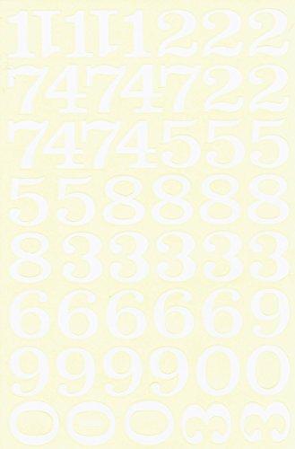 Cijfers, cijfers, cijfers, wit, 28 mm, sticker, 1 vel 270 mm x 180 mm