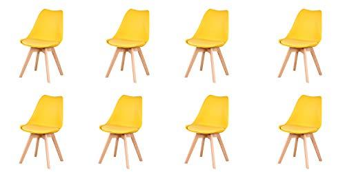 Herbalady Un conjunto de 4/8 elegantes sillas de comedor nórdicas para uso doméstico, patas de madera de haya natural, con cojines suaves. Varios colores (amarillo, 8)