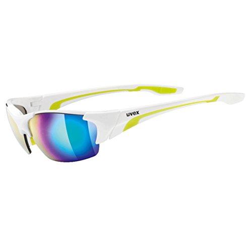 Uvex Blaze III Gafas Ciclismo, Unisex Adulto, Blanco/Verde, Talla Única