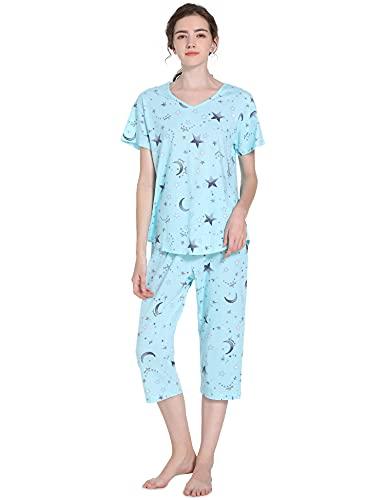 Pyqian Capri Pijamas Mujer Verano,Ropa de Mujer Algodon Corto Sexy impresión Set Manga Corta & 3/4 Pantalon