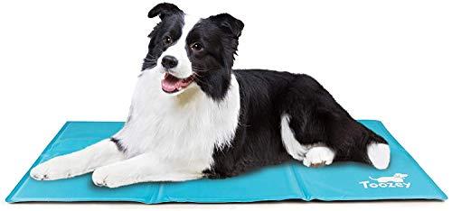 Toozey Alfombra Refrescante para Perro Gato Autoenfriamiento - Alfombra de Gel Activada por Presión para Perros Mediano/Grande, a Prueba de Arañazos/Impermeable/Antideslizante, Azul L(90 * 50cm)