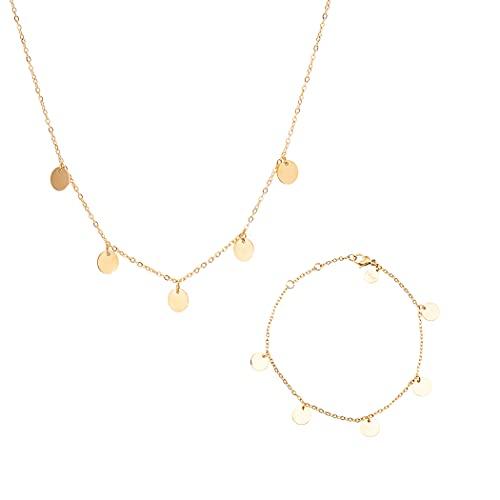 LUUK LIFESTYLE Juego de joyas de acero inoxidable compuesto por un collar y una pulsera en diseño moderno, caja de regalo, accesorios, joyería, materiales de calidad, en oro, plata y oro rosa