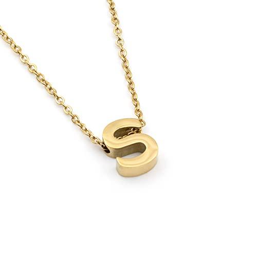 Colours & Beauty Collar de mujer con inicial de acero   Collares niña con colgante de letra   Joyas personalizables con colgante y cadena fina   Color plata oro rosa,