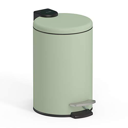 stardis 3 Liter Treteimer Edelstahl Pastell grün matt mit Absenkautomatik Klappdeckel leise schließend Softclose mit Inneneimer Kosmetikeimer Mülleimer Abfalleimer Badezimmer