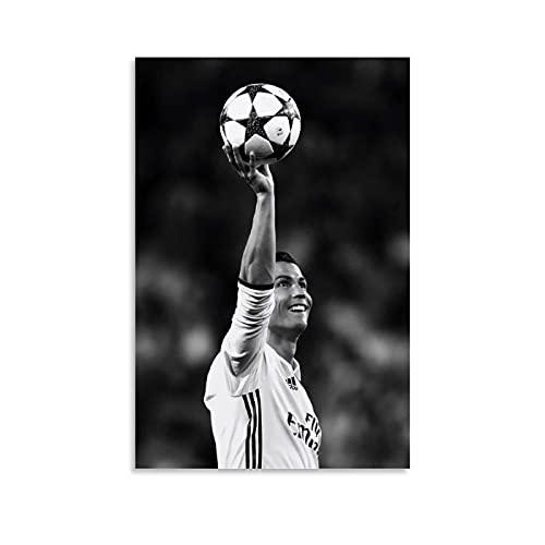 Poster de football Cristiano Ronaldo CR7 - Impression sur toile - Décoration murale moderne pour chambre à coucher - 20 x 30 cm