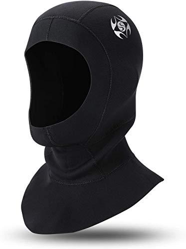 QKURT Snorkel Hat - Capucha de Buceo de Neopreno de 3 mm, con ventilación de Flujo para Eliminar el Aire Atrapado, Gorra de Surf Unisex Surf Trajes de Neopreno para Snorkel y Otros Deportes acuáticos