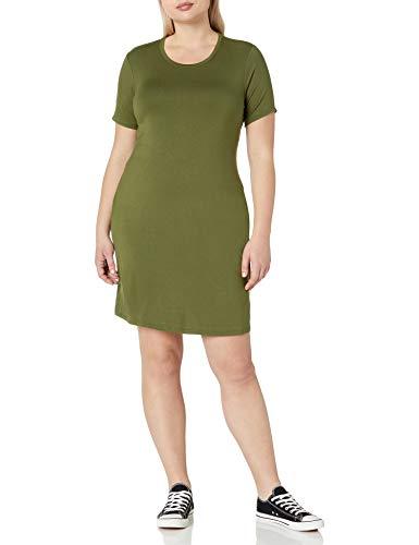 Amazon Brand - Daily Ritual Women's Plus Size Jersey Short-Sleeve Scoop Neck T-Shirt Dress, 1X, Cypress Green