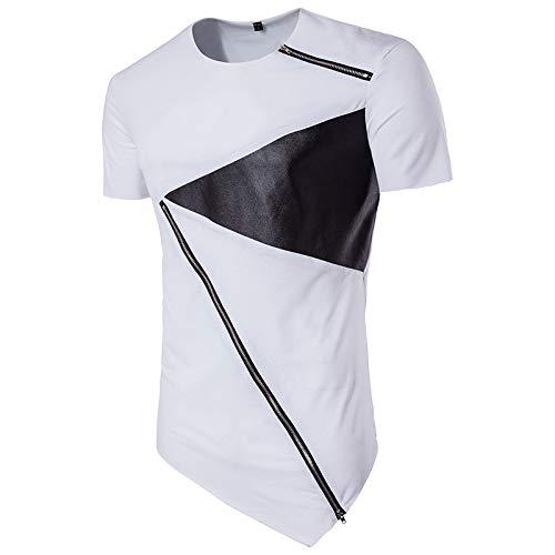 CFWL Sommer MäNner High Street Hip-Hop Rundhalsausschnitt Mode PersöNlichkeit Diagonal Saum Kurzarm T-Shirt Bottoming Shirt Sommerhemd Regular Fit Stehkragen Einfarbig Hemd FüR MäNner Weiß 2XL