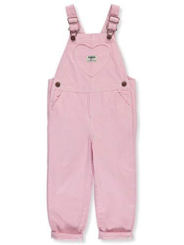 OshKosh B'Gosh Girls' Toddler World's Best Overalls, Pink Hickory Stripe, 2T
