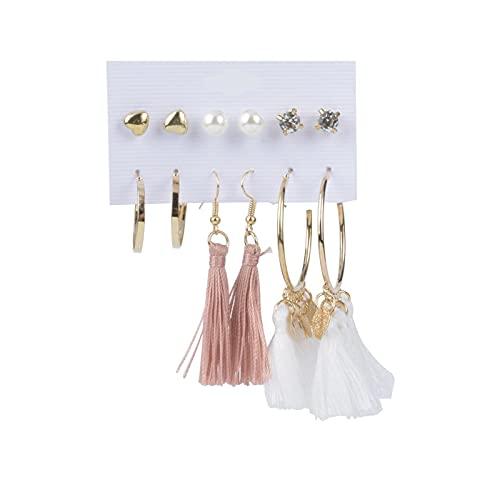 1 juego de pendientes de aro para niñas, pendientes de aro con borla y cuentas de perlas