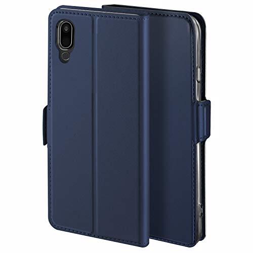 HoneyHülle für Handyhülle LG G7 ONE Hülle Premium Leder Flip Schutzhülle für LG G7 ONE Tasche, Blau